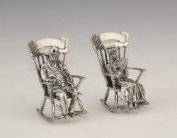 Ezüst miniatűr hintaszékes pár