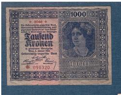 1000 Korona 1922 Osztrák - Magyar Bank VF Vízjeles papír Ritka ( 3000 feletti sorozatszám)