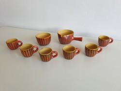 Régi retro mázas kerámia kávés készlet kávékiöntő és kávés csészék