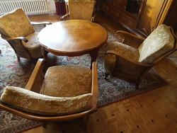 Chippendél barok ratán 4 foteles ülögarnitura ,kanapéval és ratán asztalal