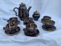 Barna-fekete mázas teáskészlet