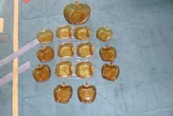 Üveg készlet  méz színű 15 db-os hibátlan, kompótos, salátás, pudingos készlet