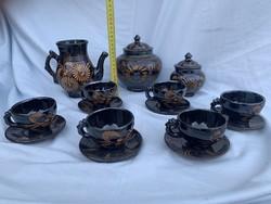 Fekete barna mázas kerámia teáskészlet