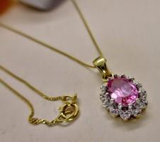 Szépséges arany nyaklánc,gyémánt és rózsaszín topáz kövekkel