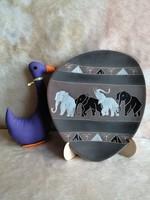 21170C1 Art deco elefántos kerámia falidísz - vélhetően Ruscha