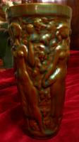 Zsolnay eozin szüretelő pohár dombor mintával
