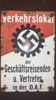 Német, náci D.A.F zománc tábla! Ritka!