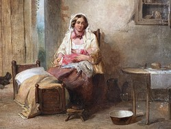 Antik 19.századi Festmény James Cole: Anya gyermekével 1860