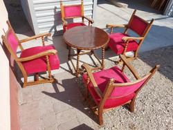 Eladó 4db koloniál fotel + dohányzó asztal. Bútorok jó  állapotú