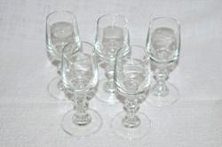 5 db szép régi talpas likőrös pohár  ( DBZ 00111 )