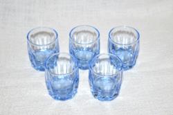 5 db szép régi kék likőrös pohár   ( DBZ 00111 )