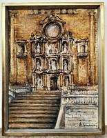 Somorjai Magda, G. (1910 - 1995) Spanyol katedrális c. Képcsarnokos festménye EREDETI GARANCIÁVAL !