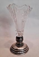 Gyönyörű antik ezüst talpas metszett kristály váza