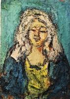 Konfár Gyula (1933 - 2008) Kendős asszony c. Képcsarnokos festménye 115x85cm EREDETI GARANCIÁVAL !