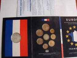 Francia franc forgalmi sor, vegyes évszámokkal, + 1 db kb. 20 gr Ezüst medállal, /.925