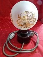 Porcelán talpú éjjeli lámpa, a gömb üveg aranyozott, magassága 24 cm.