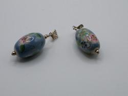 KK1014 Kézzel festett porcelán virág mintás ezüst fülbevaló 925