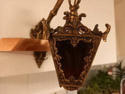 Különleges,régi réz falilámpás,falikar színezett üveggel