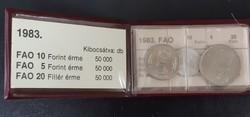 FAO forint sor, 10ft-5ft-20fillér, 1983