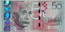 Albert Einstein 50 teszt bankjegy / sample note - extrém ritka! Egyedi sorszámozott.