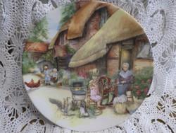 Angol jelzett sorszámozott jelenetes porcelán dísztányér. Hibátlan vitrin állapotú.