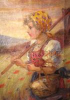 MÁJUSI ÁRESŐ !! EREDETI BEREGI SÁNDOR  / 1876-1943 /  FESTMÉNY: LÁNY KOSÁRRAL
