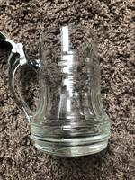 Régi szépen metszett zinn tetejü üveg kupa