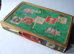 Régi, retró kelet-német építőjáték, fakocka, fajáték, építő kocka eredeti dobozában-anno 36,-Ft volt