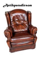 A260 Eredeti chesterfield antik konyak színű bőr fotel