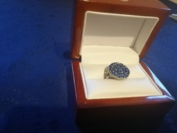 Eladó régi ezüst kézműves kék cirkonia köves gyűrű!