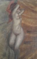 WOLKOFF: Akt (olaj-vászon 30x39 cm) századfordulós, kecskeméti művésztelep, XX. század eleje