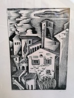 Molnár C. Pál : Itáliai táj / Fametszet