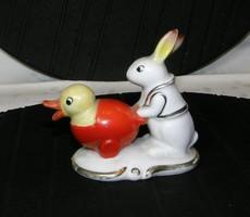 Ritka porcelán csibe nyúl figura