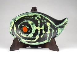 1D408 Jelzett retro halas iparművészeti kerámia hamutál 13 cm