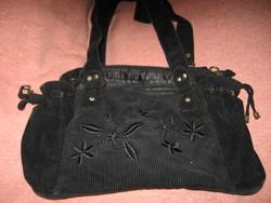 Fekete kord bársony koordbársony táska , retikül