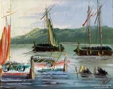 Kikötői jelenet Olajfestmény Szignózott 40x46cm Hajók Móló Vitorláshajó Balaton Badacsony