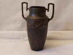 Antik bronz szecis kisváza,jelzett