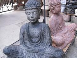 Ritka  Buddha  Rusztikus Balinéz  Nagy 60cm kő szobor feng shui Kültéri Fagyálló MűKő