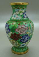 B401 Kínai zománcos váza , rekesz zománc cloisonné váza - meseszép gyűjtői darab!
