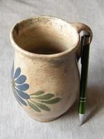 Mesebeli ónmázas szilke , cserép kerámia fazekas néprajzi kincs ( virágos mázas köcsög )