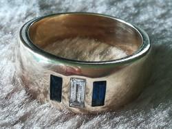 Gyémánt és zafír drágaköves 14 karátos arany gyűrű