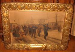 RITKASÁG ! BIHARI SÁNDOR / 1855-1906 / : FALU ROSSZA EREDETI LAPARANYOZOTT  KERETÉBEN