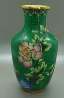 B400 Kínai zománcos váza , rekesz zománc cloisonné váza - meseszép gyűjtői darab!
