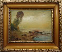 Vízparton - nívós festmény Temleitner Gy. szignóval - hibátlan szép állapotban