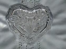 Nagyon régi szív alakú tulipán csokros gyűrűtartó-bonbonier átlátszó üvegből.