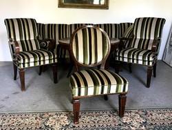 Biedermeier antik ülőgarnitúra és intarziás asztal