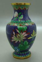 B403 Kínai zománcos váza , rekesz zománc cloisonné váza - meseszép gyűjtői darab!