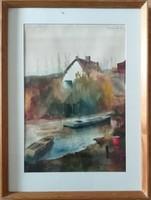 Endrédy György- vízpart akvarell.