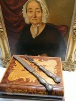 Antik evőeszköz kés és villa