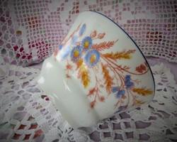 Jelöletlen, antik, kézi számozású, kontúrmatricás, kézzel színezett kőporcelán csésze